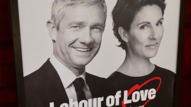 """Teaterplakat av """"Labour of Love"""""""