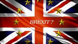 Britisk flagg med EUs stjerner foto
