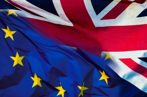 Eu og UK-flagg foto