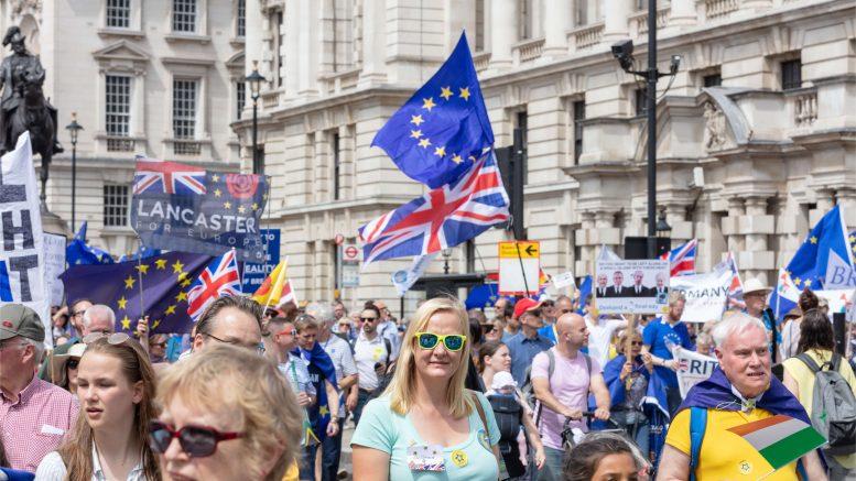 Demonstrasjon i London mot brexit.