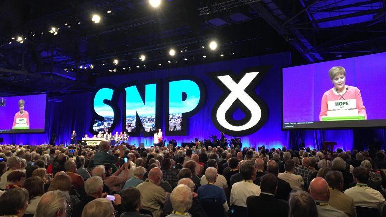 Nicola Sturgeon på landsmøtet. Foto.