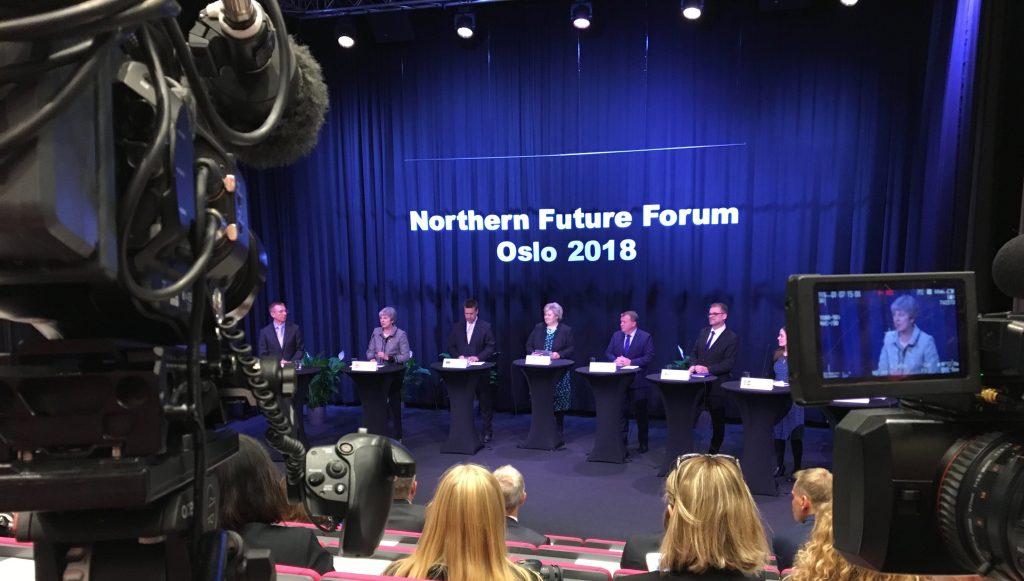 Theresa May på pressekonferanse i Norge. Foto