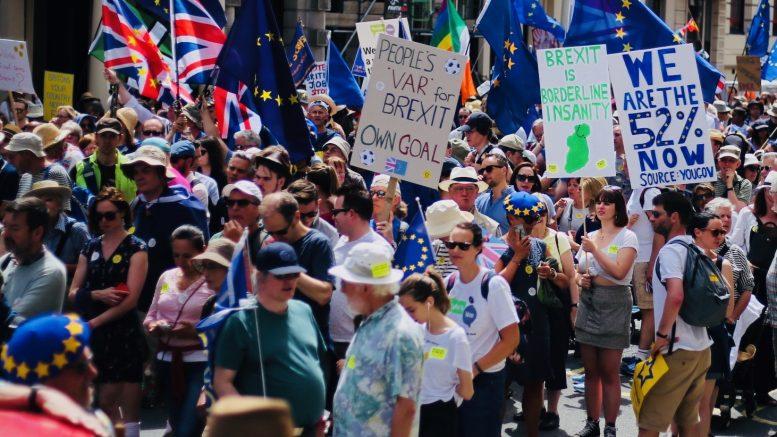 Demonstrasjon i London mot brexit. Foto.
