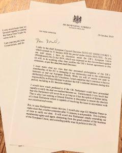 Brev Johnson til EU - faksimile