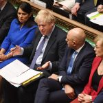 Boris Johnson i Underhuset med statsråder på begge sider. Foto