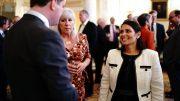 Innenriksminister Priti Patel på en mottakelse i Downing Street 10. Foto