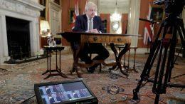 Boris Johnson TV-tale om lockdown. Foto