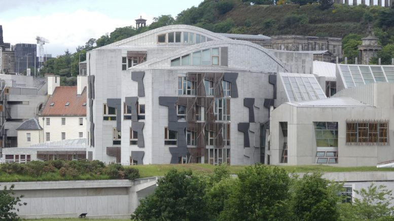 Eksteriørbilde skotsk parlament i Edinburgh